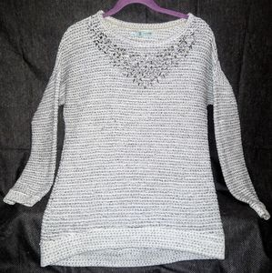 Maurice's- Grey/Thermal Knit Embellished Tunic
